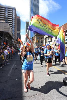 Catholic teachers marching in a Pride parade