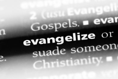 Evangelize singled out in the page of a dictionary