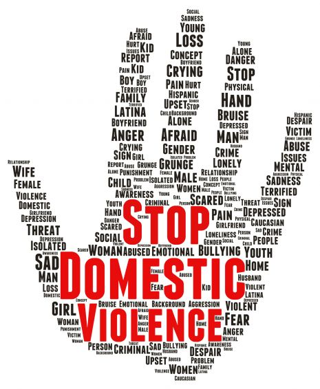A domestic violence word cloud in the shape of a hand