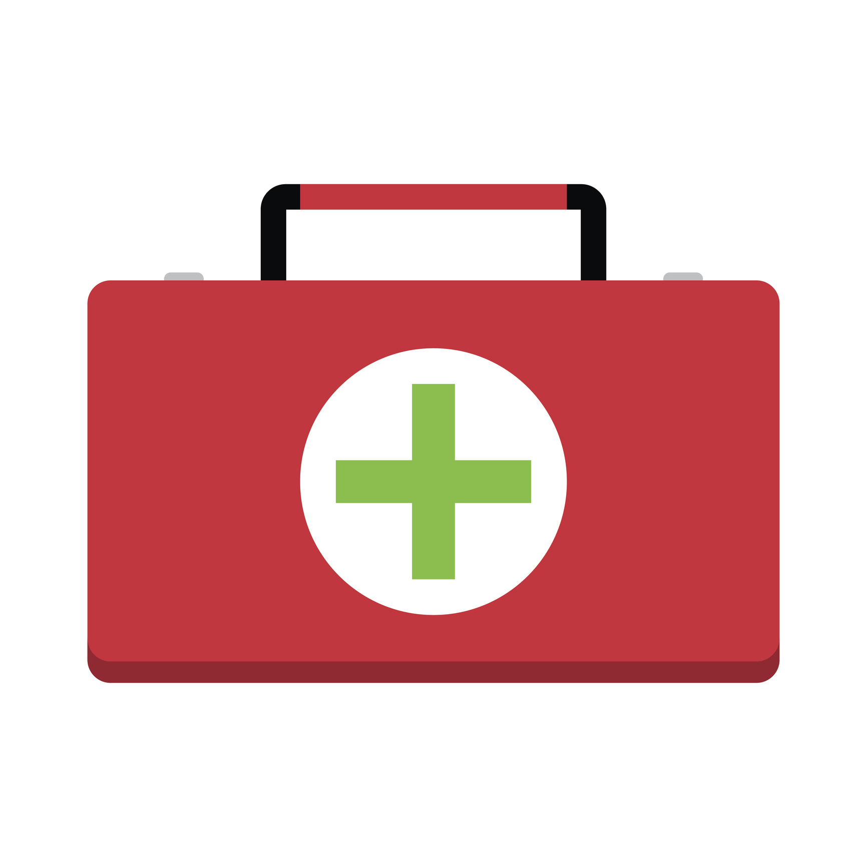 Red first-aid kit with green cross