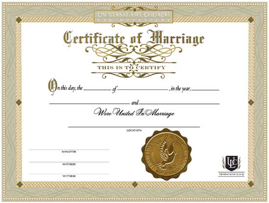 Marriage Certificates  Universal Life Church