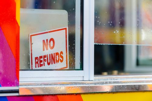 No Refunds Sign in Shop Window