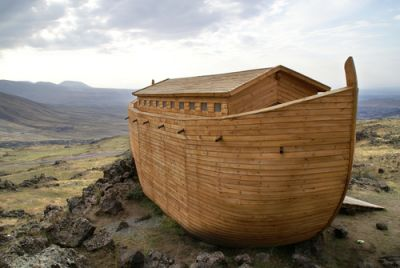 A depiction of Noah's Ark after the flood
