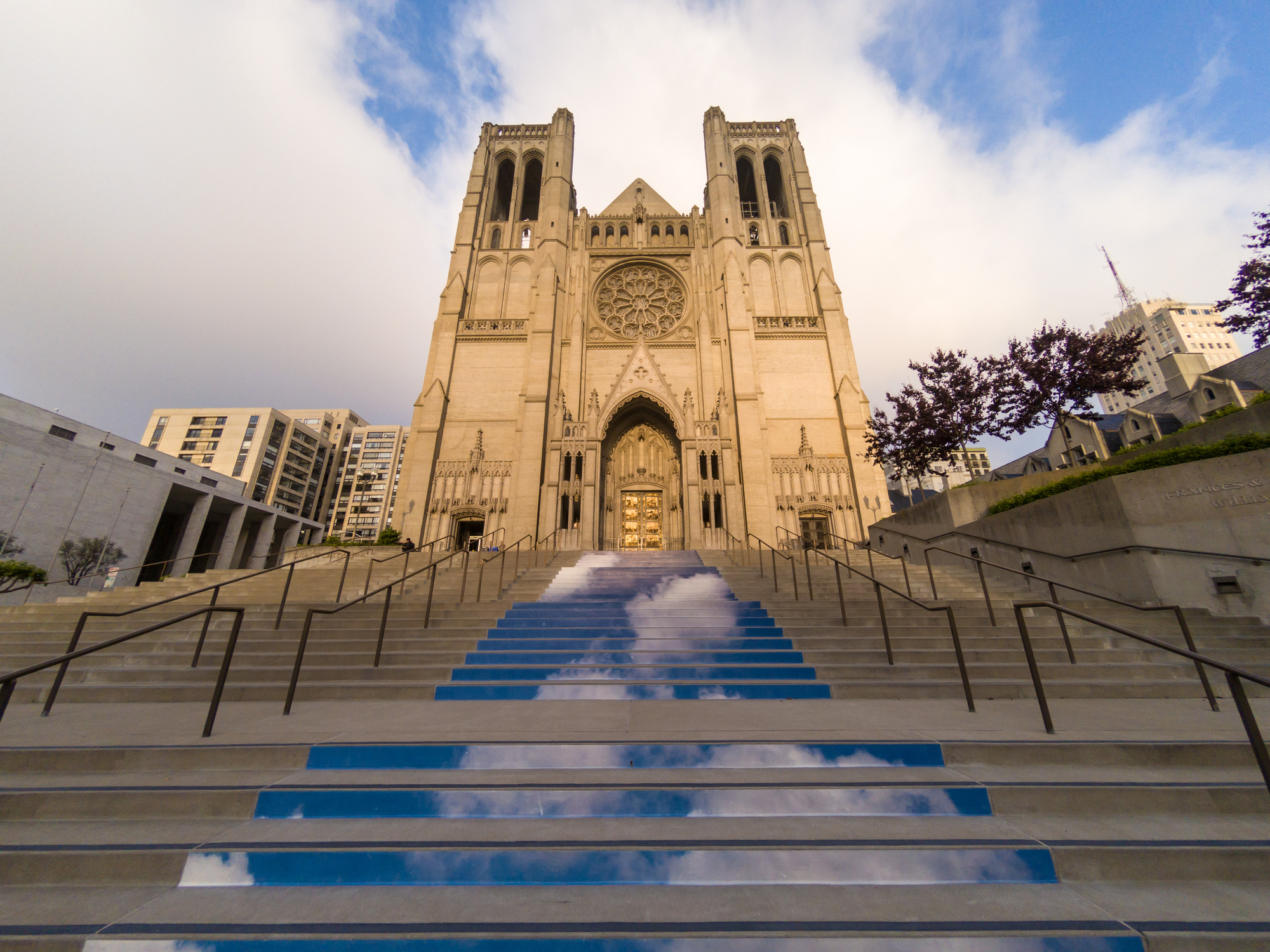 Steps up to a famous cathedral in San Francisco.