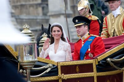 Prince William and Kate in her wedding gown