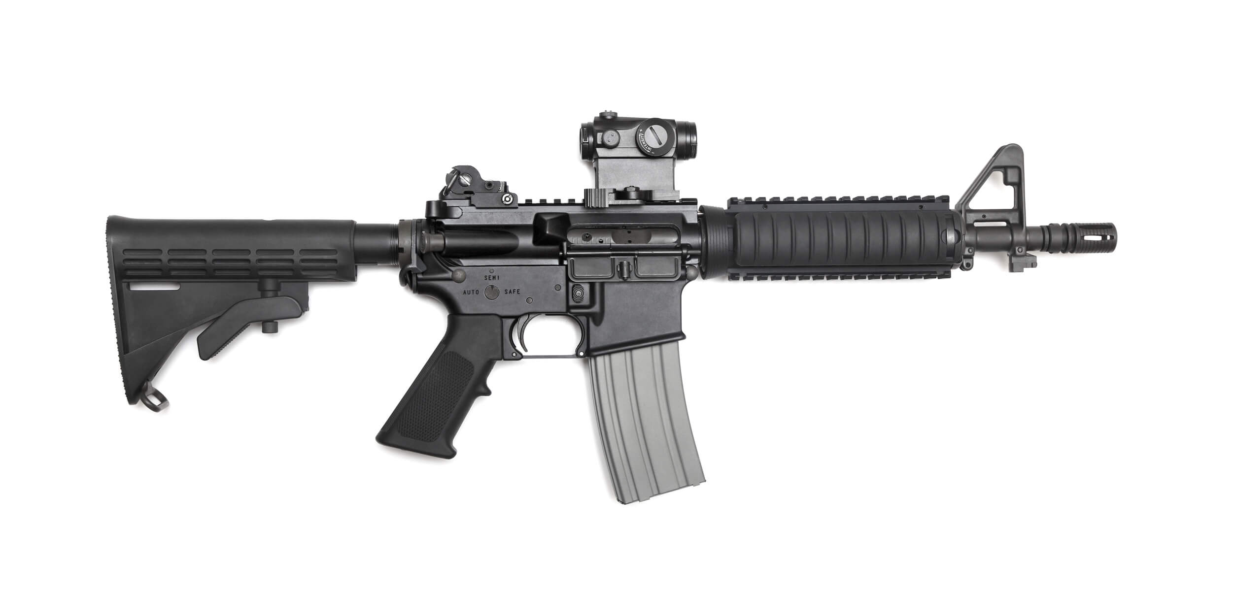 A tactical assault rifle which a reporter tried to purchase for a story.