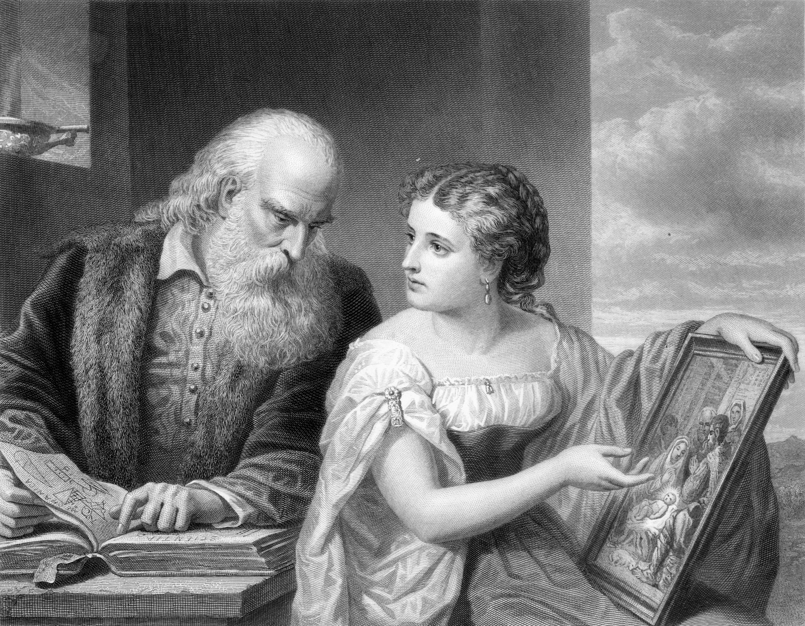 Engraving depicting a young woman representing religion debating with an old man representing science.
