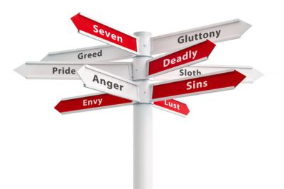 Signs Depicting the Seven Deadly Sins