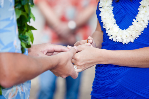 tropical wedding vows and ring