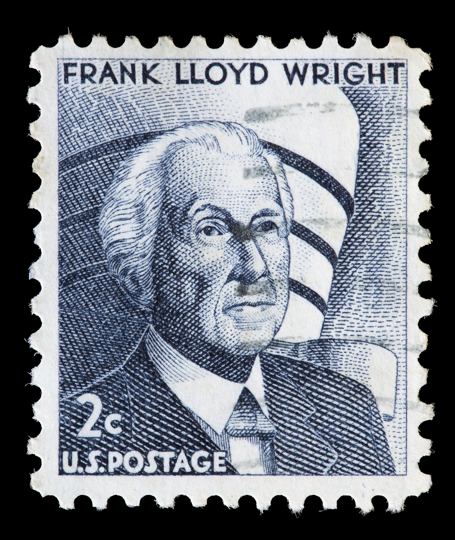A stamp featuring Frank Lloyd Wright