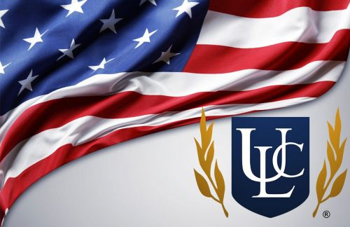 American flag with ULC logo