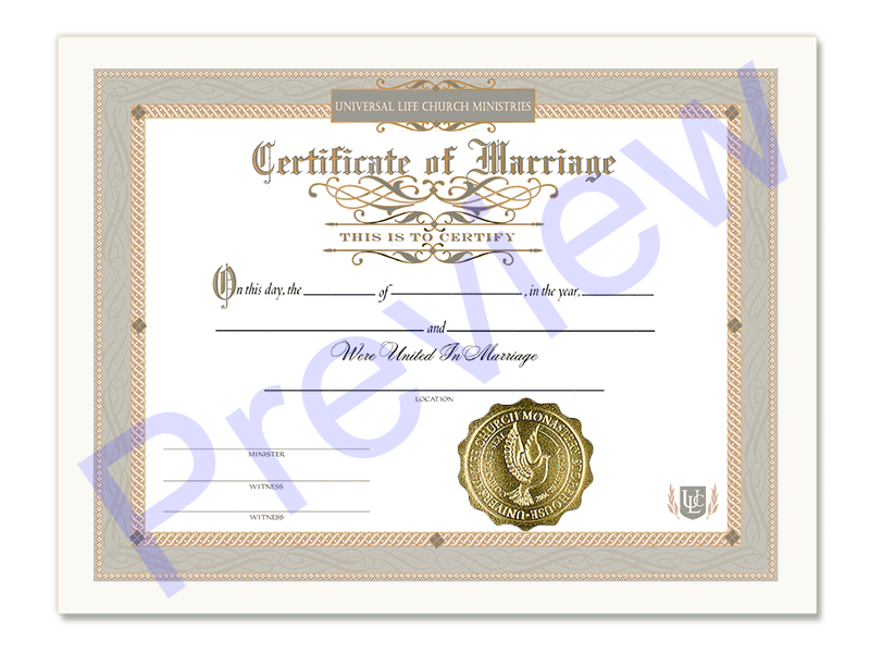 Classic Marriage Certificate - Universal Life Church
