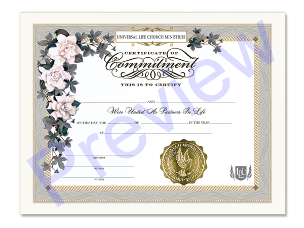 Commitment of Love Certificate