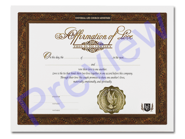 Love Affirmation Certificate