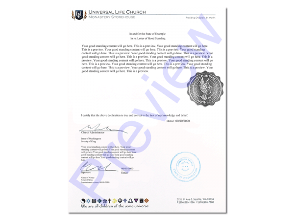 Official Letter of Good Standing