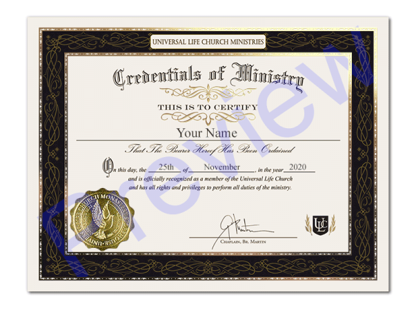 Premium Credential of Ministry