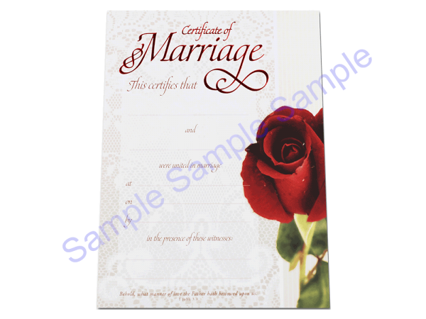 Wedding Certificate - Rose Lace