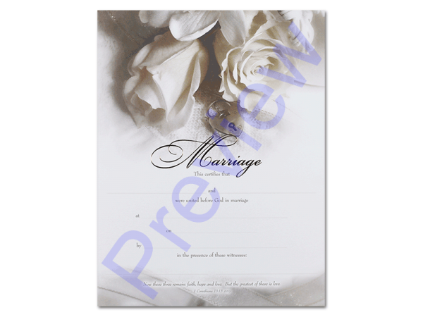 Wedding Certificate - White Rose