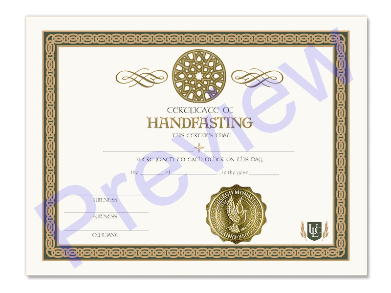 Handfasting Ceremony Certificate Universal Life Church