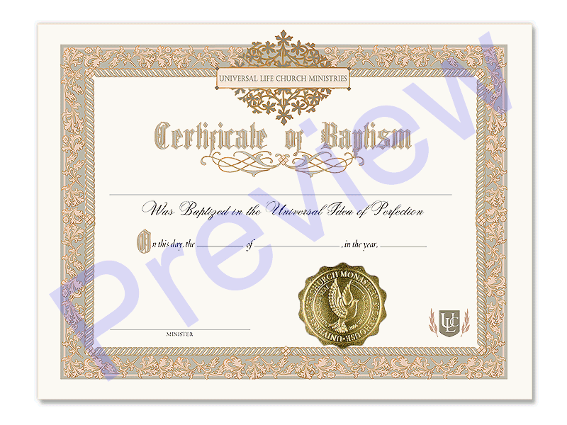 Holy Baptism Certificate Universal Life Church