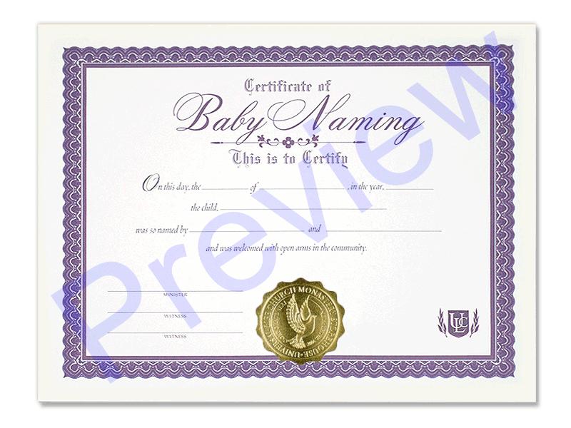 Newborn Naming Certificate Universal Life Church