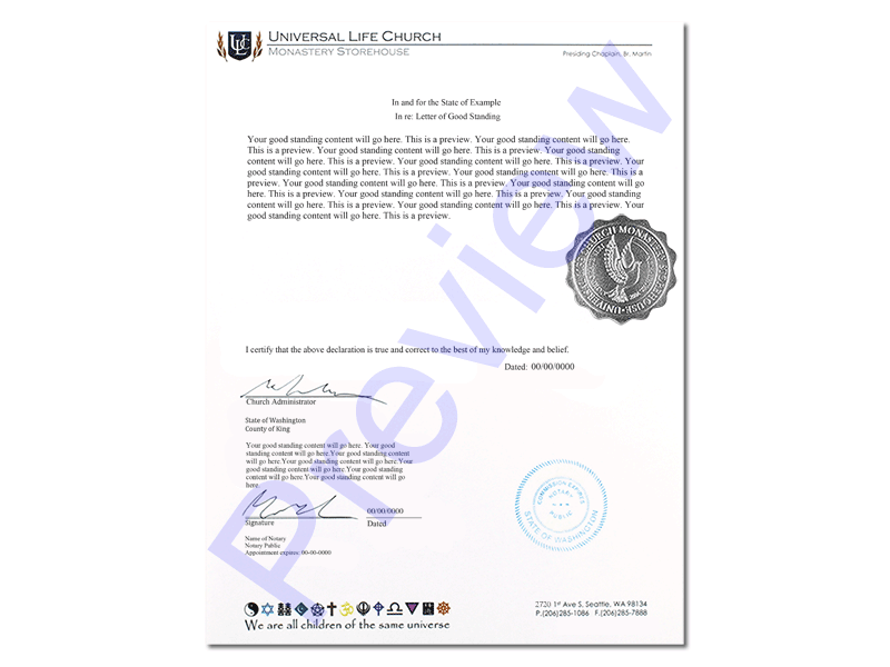 Official Letter Of Good Standing Universal Life Church