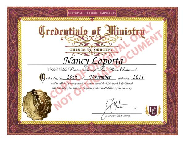 Nancy laporta's Universal Life Church Ordination